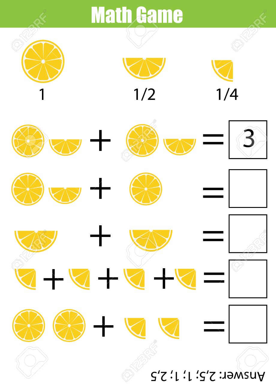 Mathematics educational game for children. Learning counting, addition worksheet for kids. Fractions, half, quarters - 67522968