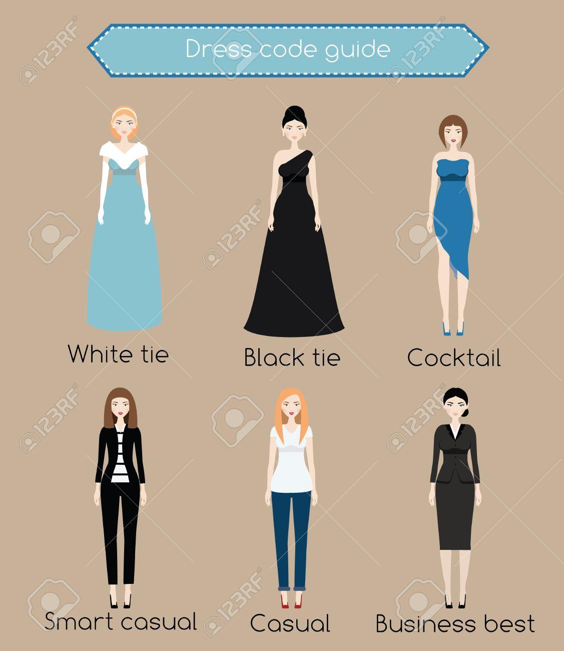 f513196e5 Foto de archivo - Vestido de la mujer guía código de infografía. Desde el  lazo blanco de negocios informal. Mujer en diferentes tipos de vestir y ropa