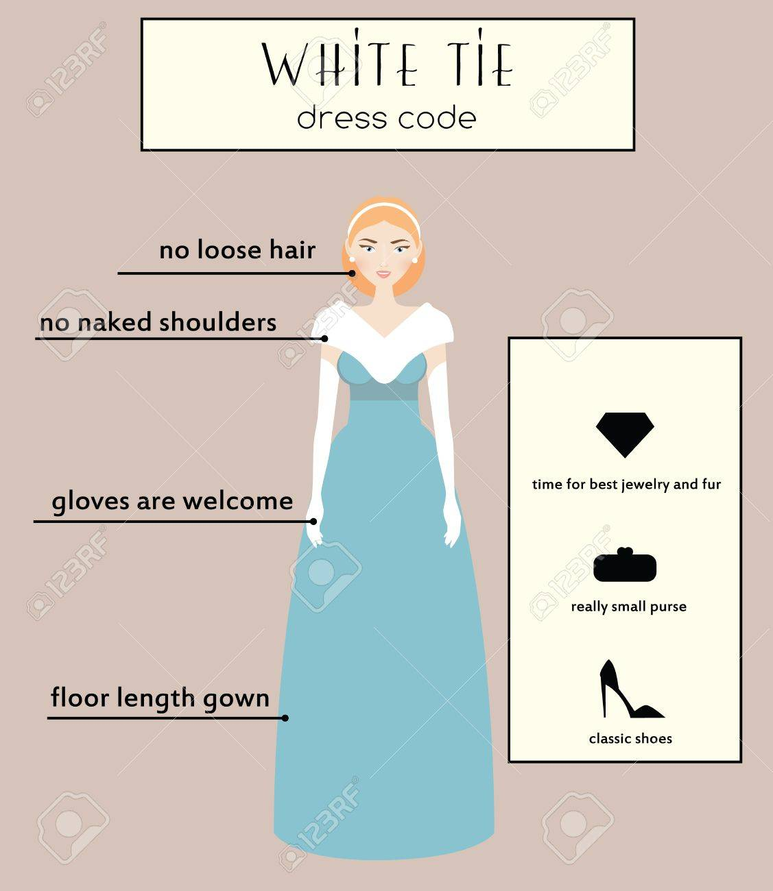 Woman Dress Code Infographic. White Tie Type. Female In Evening ...