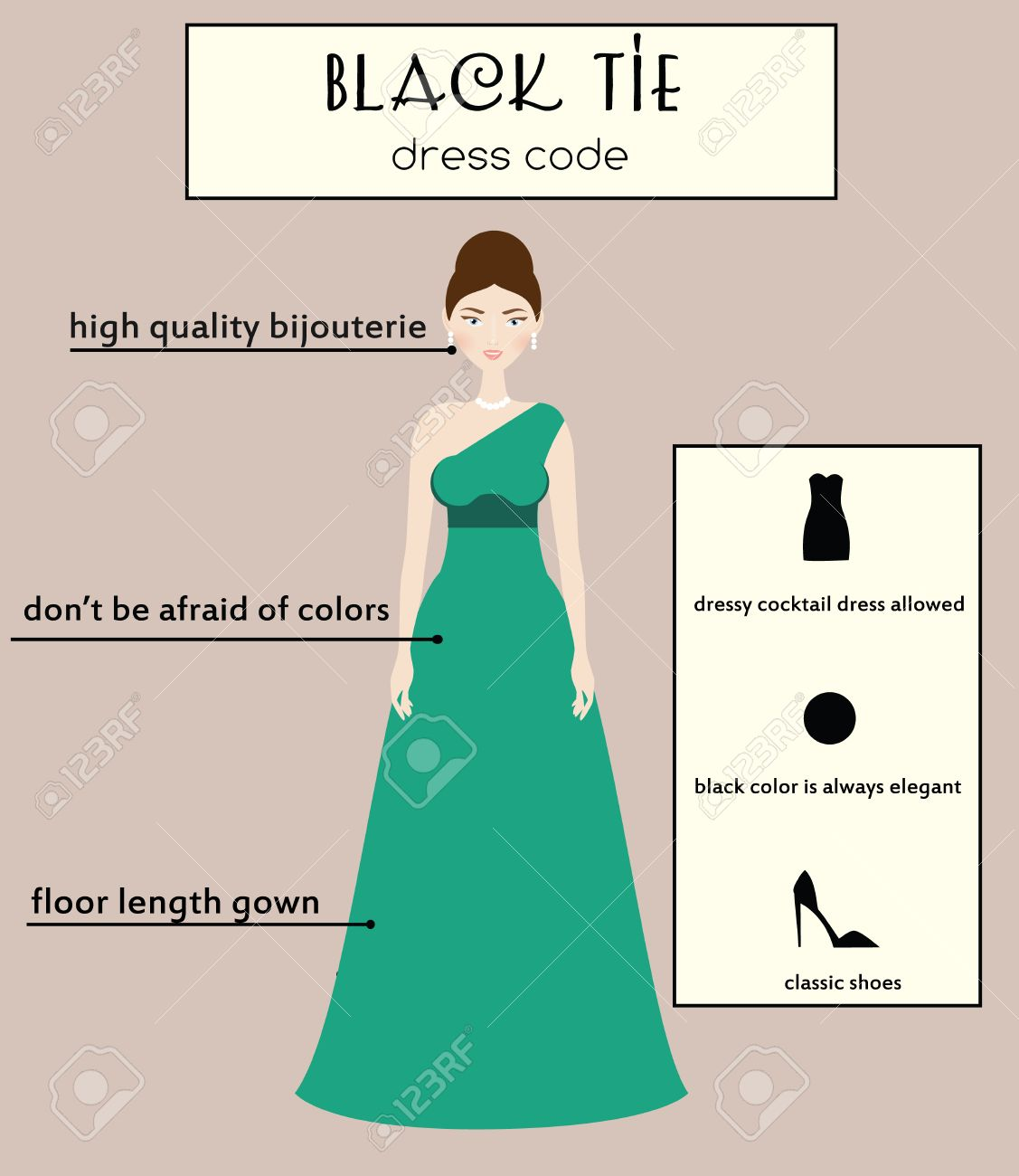 c7c9597f08a9a Vector - Woman dress code infographic. Black tie type. Female in evening  long gown dress