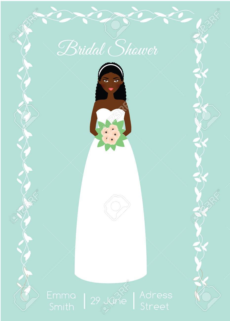 ed888cdbd17d Bridal shower card with smiling happy bride. African american woman in  fashion wedding dress.