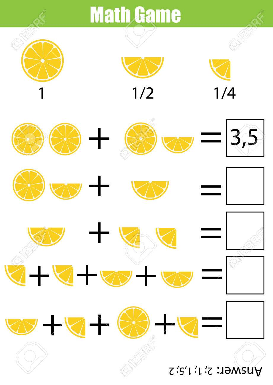 worksheet Counting Quarters Worksheet mathematics educational game for children learning counting addition worksheet kids fractions