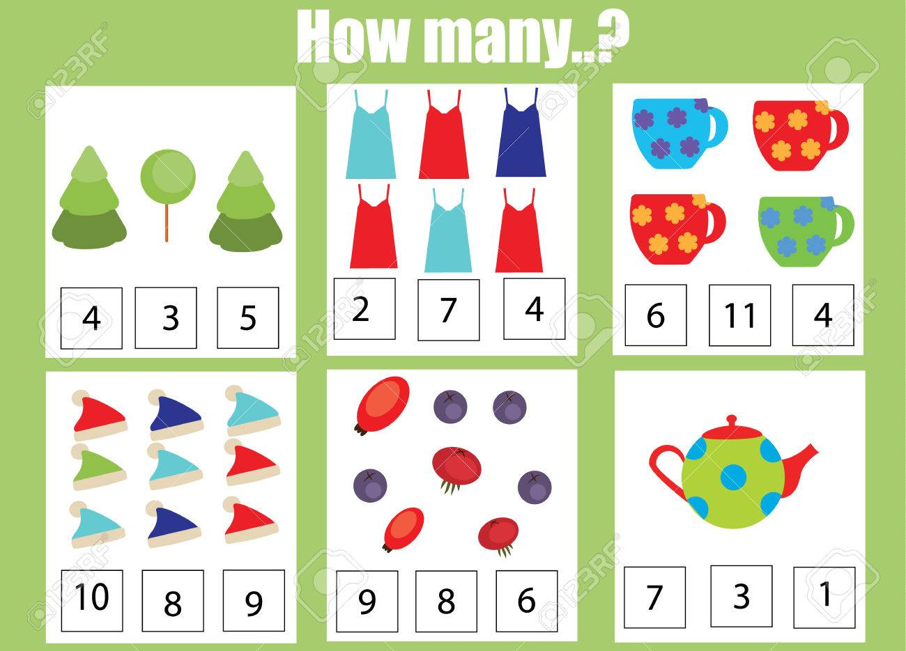 Counting Educational Children Game Kids Activity Worksheet