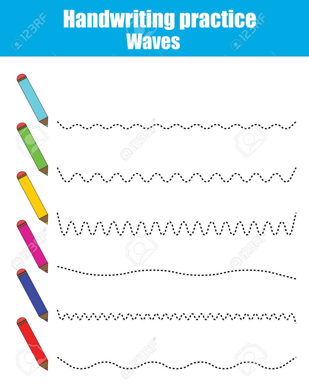 Handwriting practice sheet. Educational children game, restore the dashed line. Writing training printable worksheet. Drawing waves - 68668867