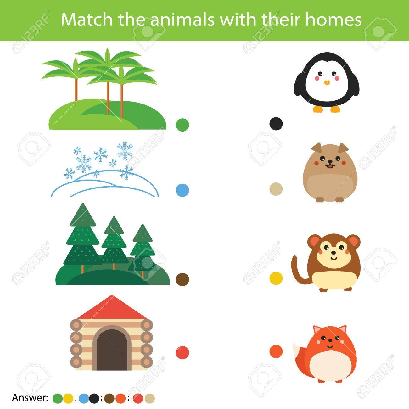 Matching Kinder Bildung Spiel. Spielt Tiere Mit Ihren Häusern ...