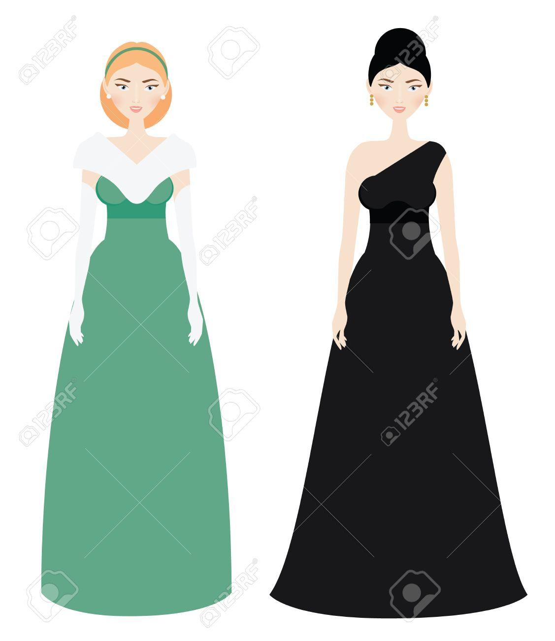 Schöne Frau, Dresscode. Smiling Female In Luxus Abend Langes Kleid ...