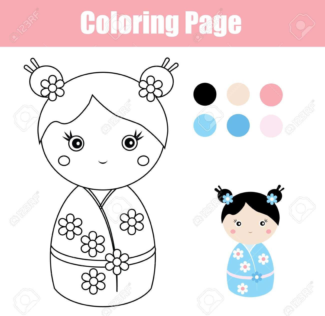 Coloriage Magique Japon.Japonaise Educatif Une Kokeshijeu Poupee Pour Avec Jolie
