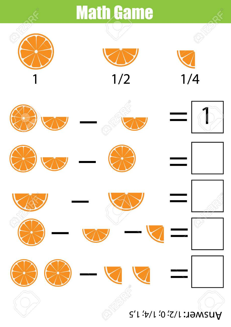 Mathematics educational game for children. Learning counting, subtraction worksheet for kids. Fractions, half, quarters - 70984040