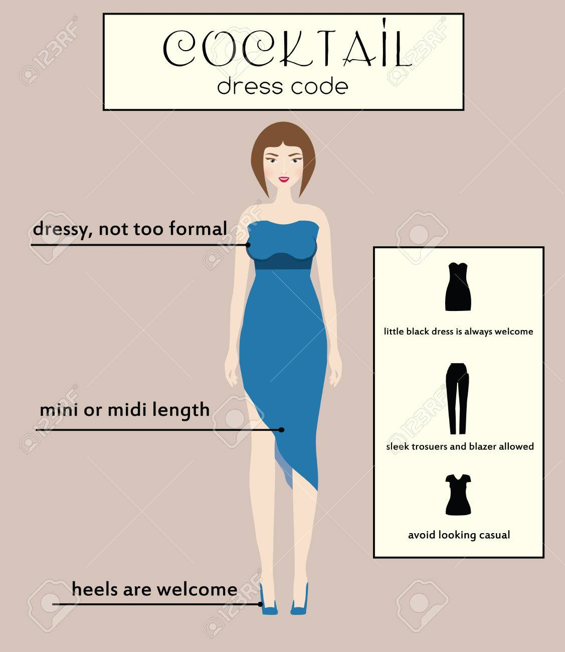 Woman Cocktail Dress Code Infographic. Female In Dressy Blue ...