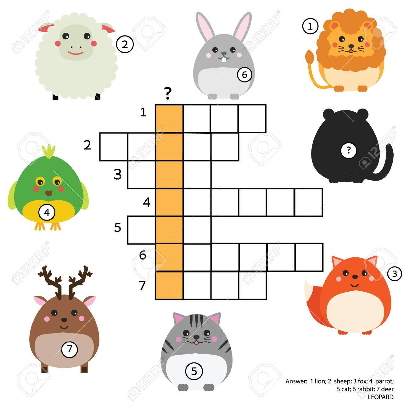 Kreuzworträtsel Kinderspiel Mit Antwort. Tiere Thema. Vokabeln ...