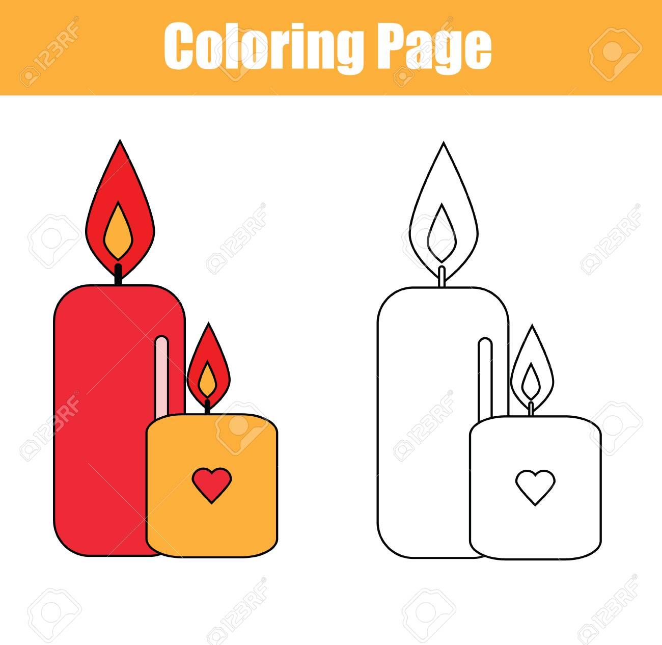Página Para Colorear Con Velas. Copiar Colores Para Colorear Libro ...
