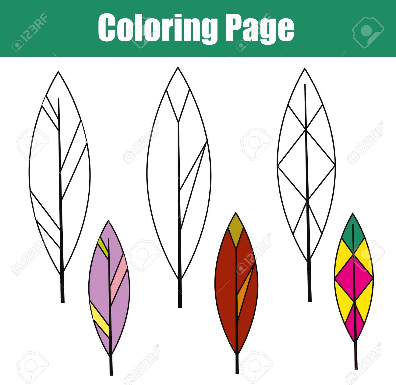 Vettoriale Pagina Da Colorare Con Piume Di Uccello Gioco