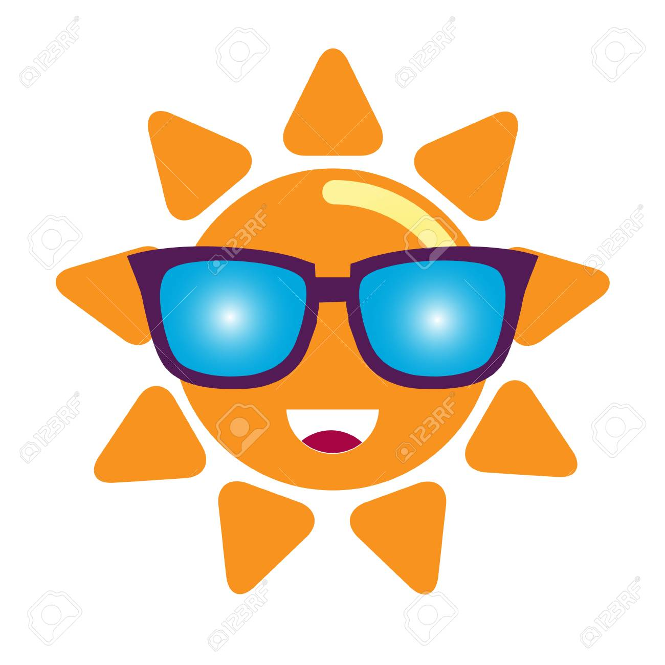 19e4b588d5 Cartoon Smiling Sun In Sunglasses Character. Vector Illustration ...