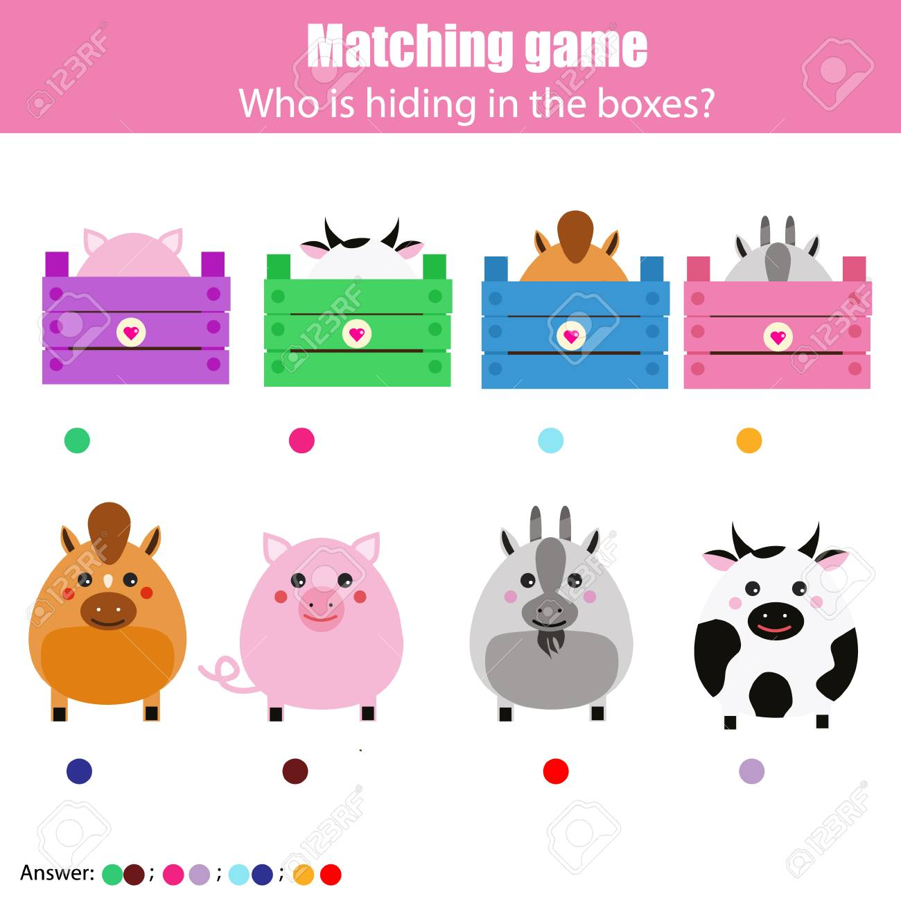 Match the animals with box children education game  Learning