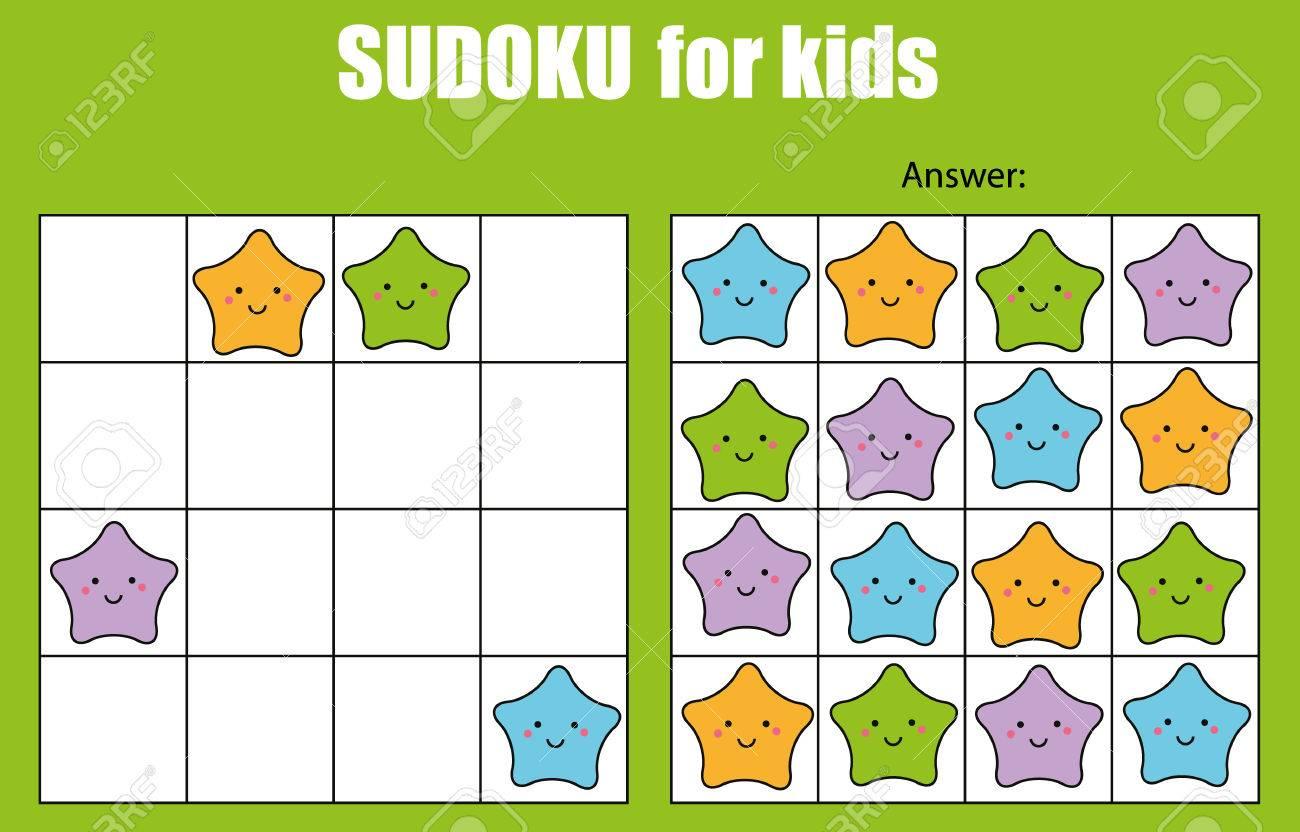 Juego De Sudoku Para Niños Con Fotos. Hoja De Actividades Para Niños ...