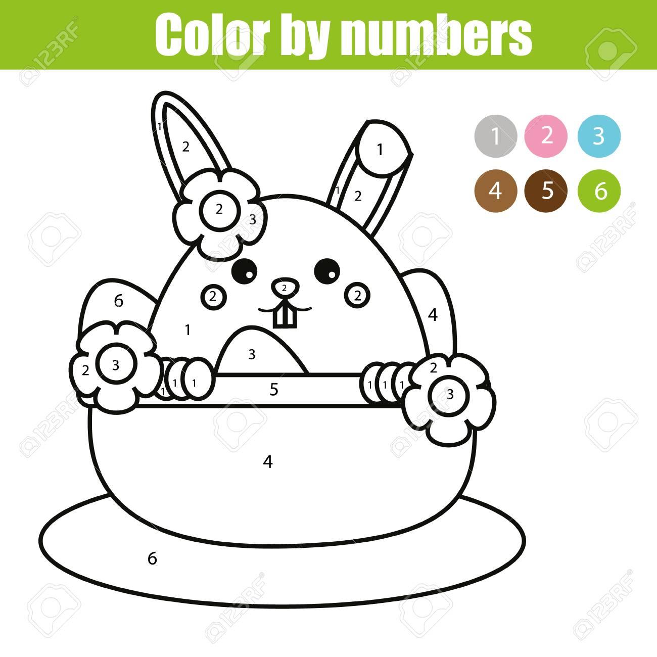 Dibujo Para Colorear Con Personaje De Conejito De Pascua Color Por Los Números Juego Educativo De Los Niños Dibujando Actividad De Los Cabritos