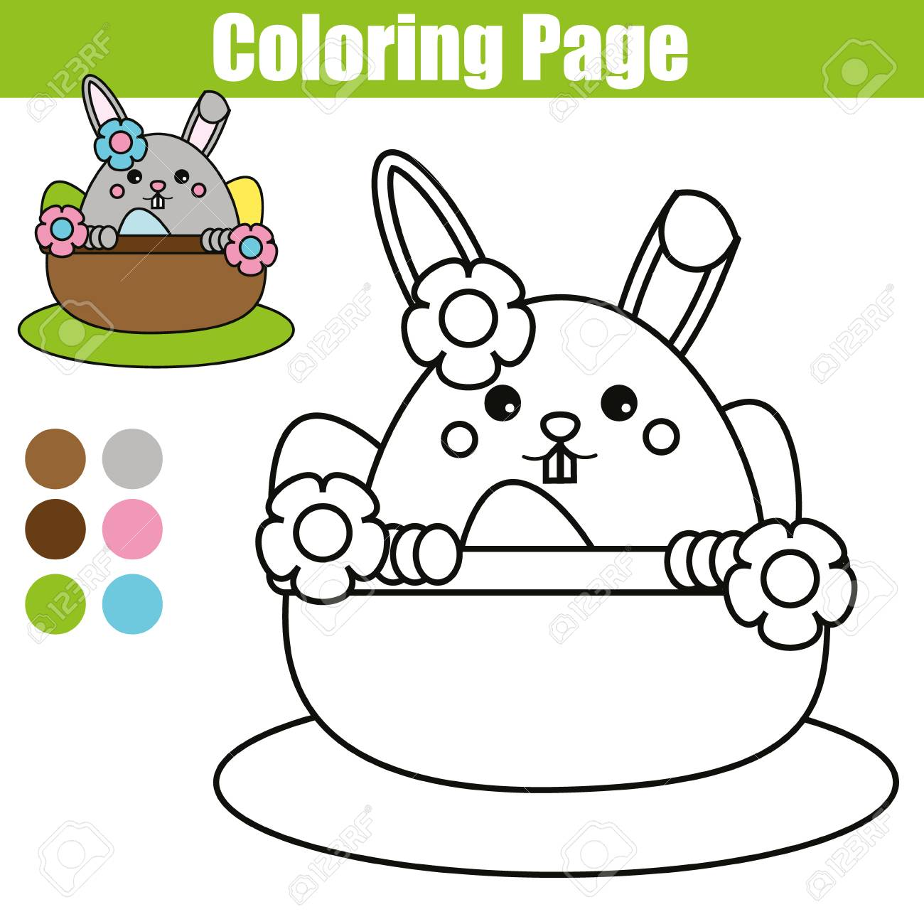 Coloring Page With Easter Bunny Character Printable Worksheet Educational Children Game Drawing Kids