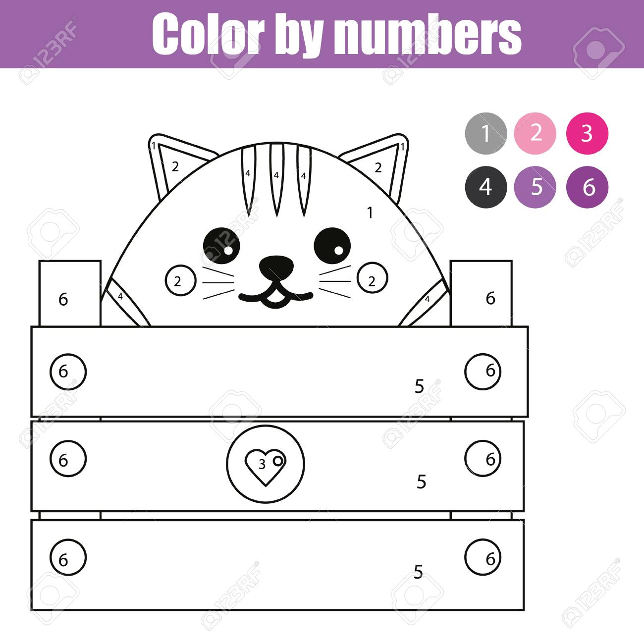 Coloring Page With Cute Cat Character. Color By Numbers Educational ...
