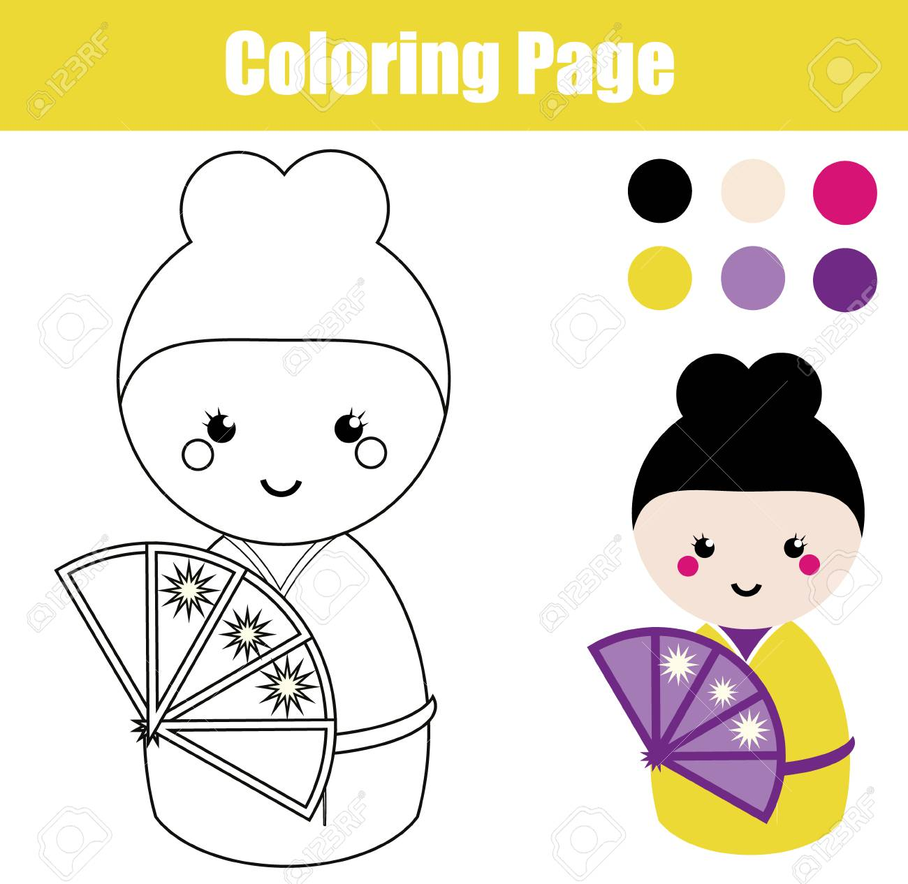 Coloring Page With Cute Japanese Kokeshi Doll Children Educational Game Drawing Activity Printable