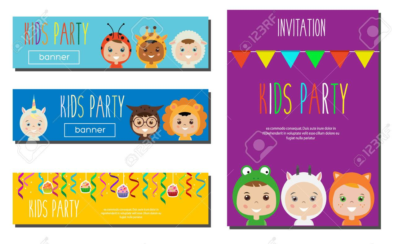 Kids Party Banners Design Template. Children In Animal Carnival ...