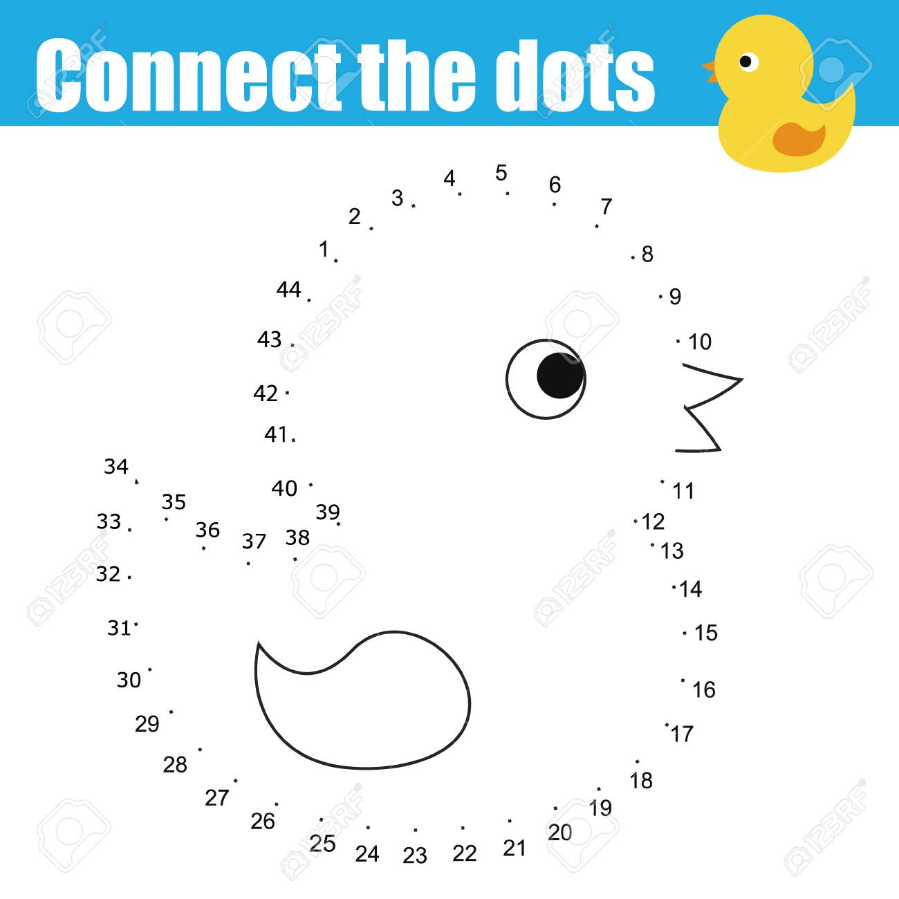 Connect The Dots Children Educational Drawing Game. Dot To Dot ...