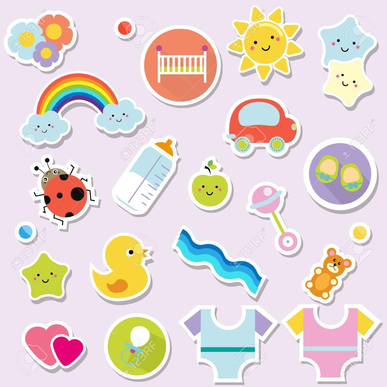 Baby Stickers Kids Children Design Elements For Scrapbook
