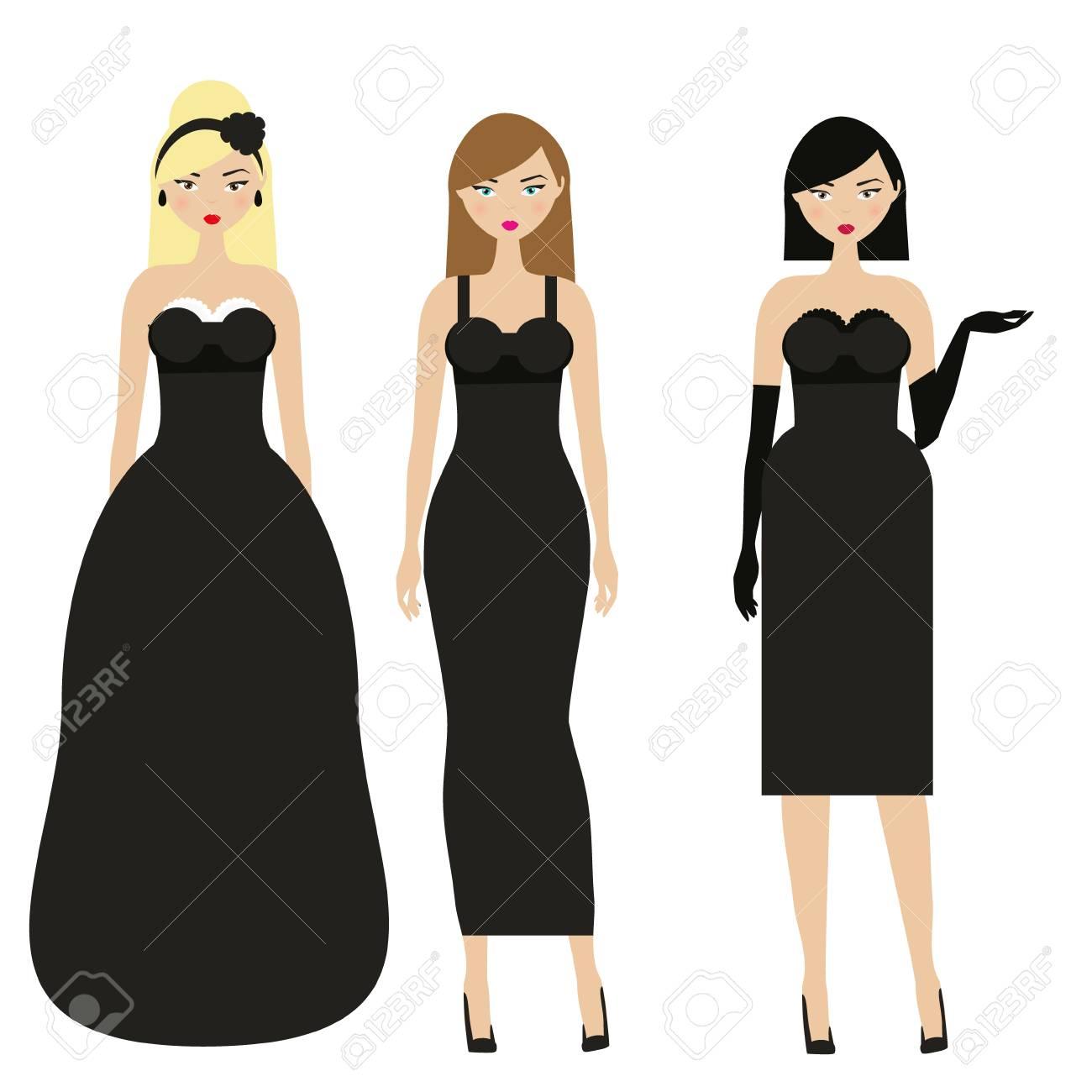 Mujeres Con Vestidos Negros Noche Femenina Elegante Vestido De Noche Señoras En Ropa Elegante De Moda