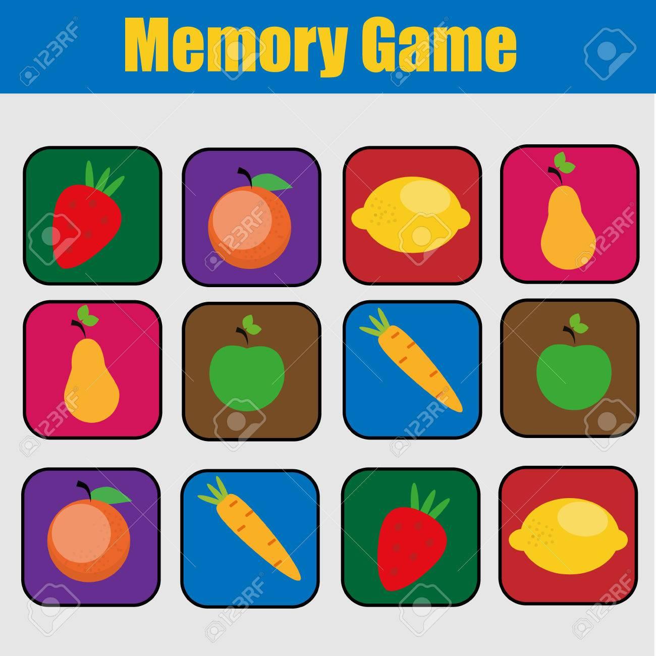 Educational children game, kids activity. Memory game, friuts..
