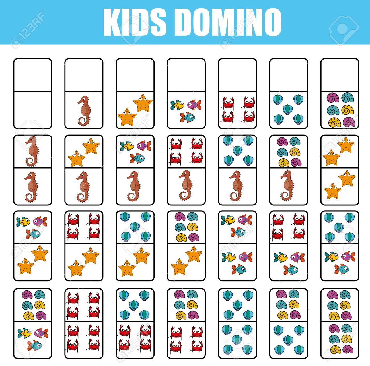 graphic regarding Board Game Printable titled Domino for children. Kids enlightening video game. Printable recreation,..