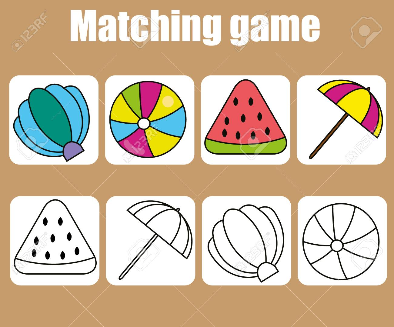 Educational Children Game. Match Colored And Outline Objects ...