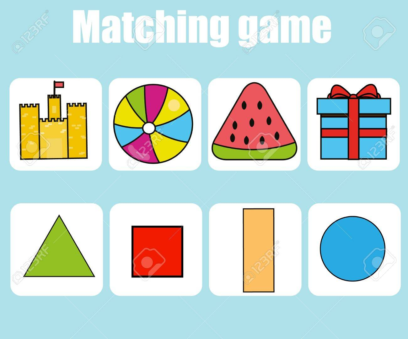 worksheet Matching Shapes To Objects Worksheets educational children game matching worksheet for kids learning shapes activity stock vector