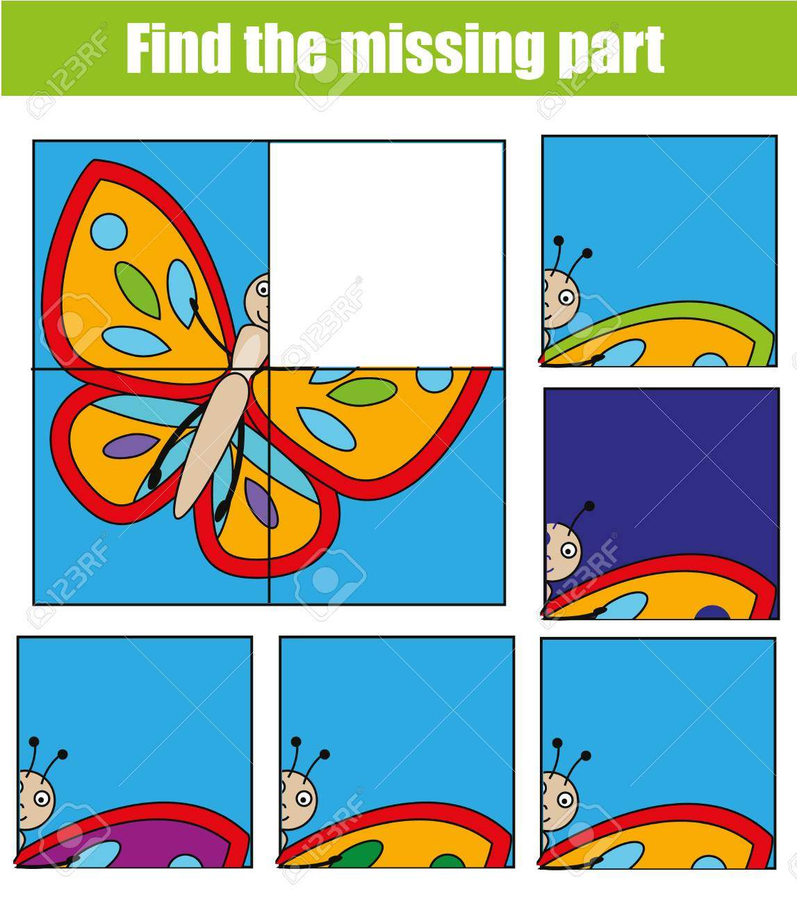 Children Educational Game. Find The Missing Piece And Complete ...