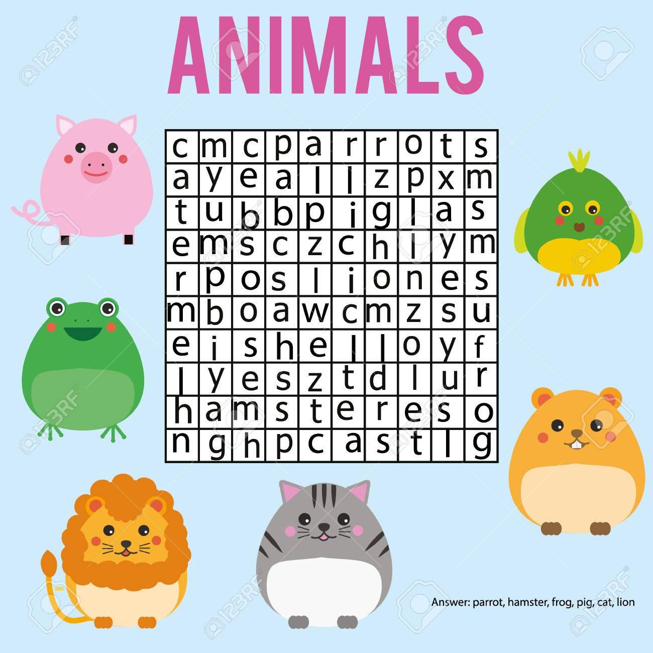 Pädagogisches Kinderspiel. Word-Suche Puzzle Kinder Aktivität. Tiere ...