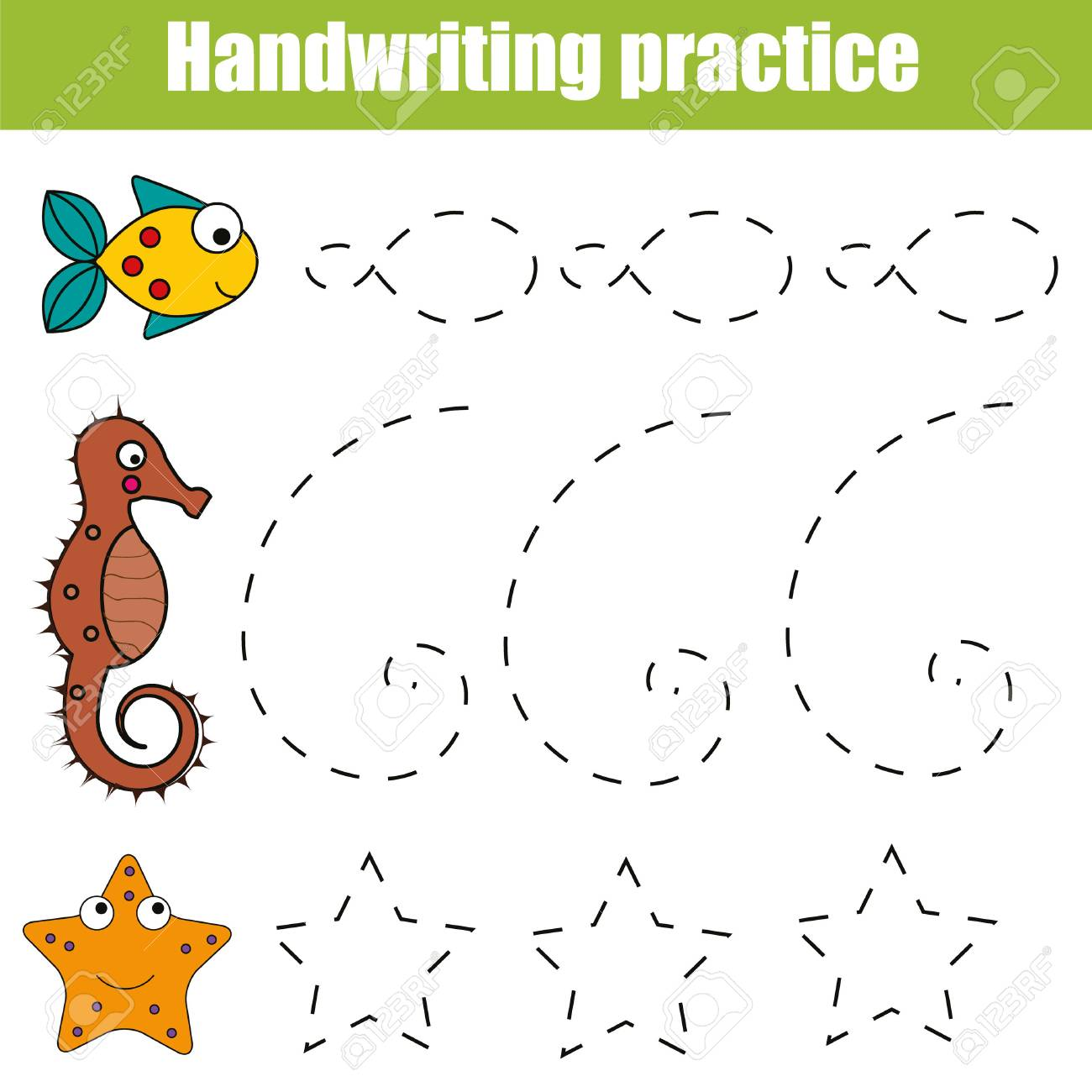 Handwriting practice sheet. Educational children game, restore the dashed line. Writing training printable worksheet with with shapes and sea animals - 79142447