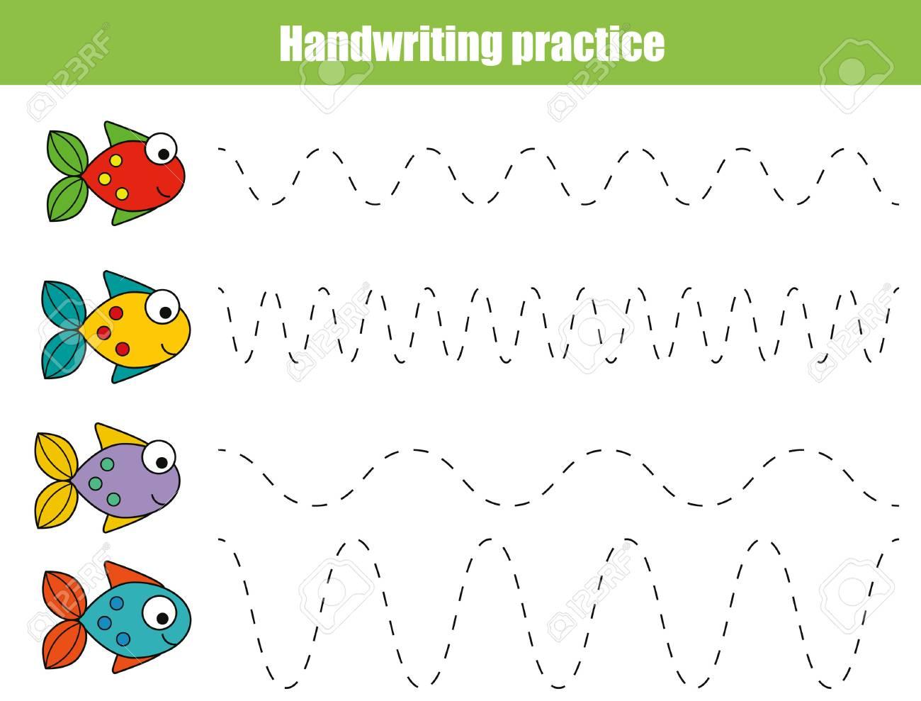 handwriting practice sheet. educational children game, restore