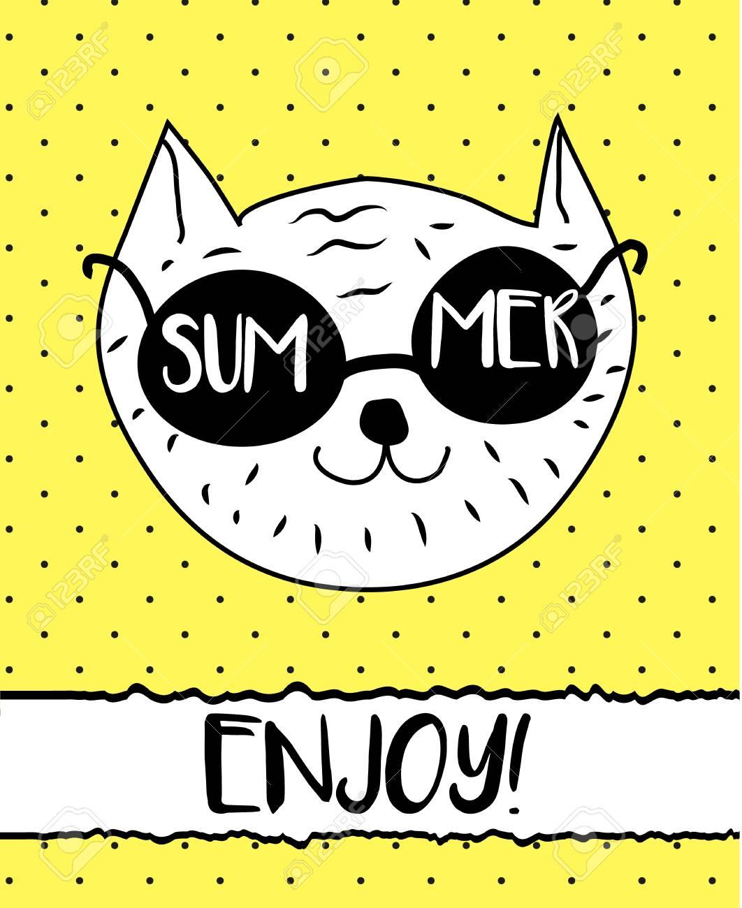 Doodle Cat In Summer Sunglasses Modern Postcard Flyer Design Template Seasonal Card
