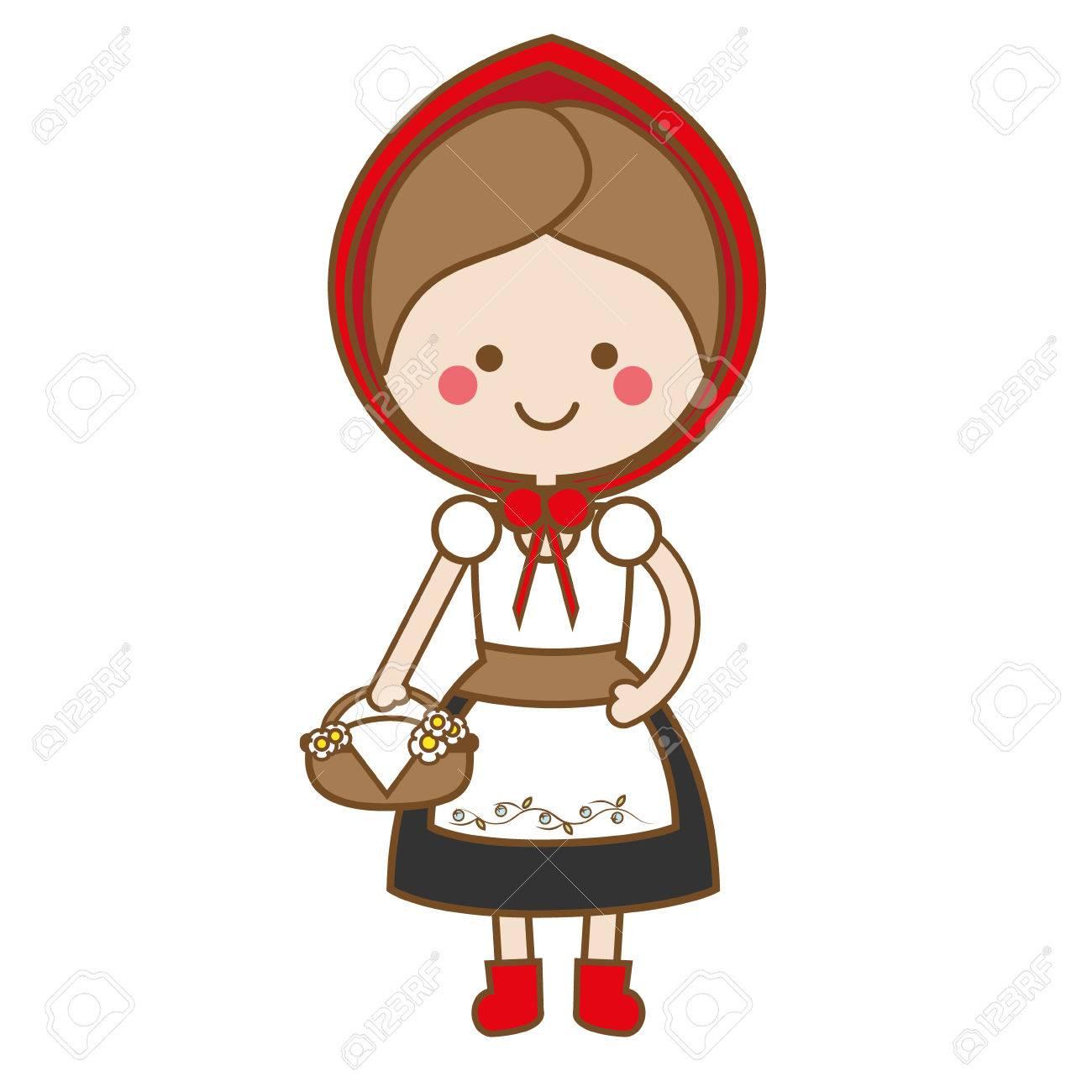 Lindo Kawaii Caperucita Roja En Estilo De Dibujos Animados Ilustración Vectorial Personaje De Cuento De Hadas Etiqueta Niños Vector Ilustración