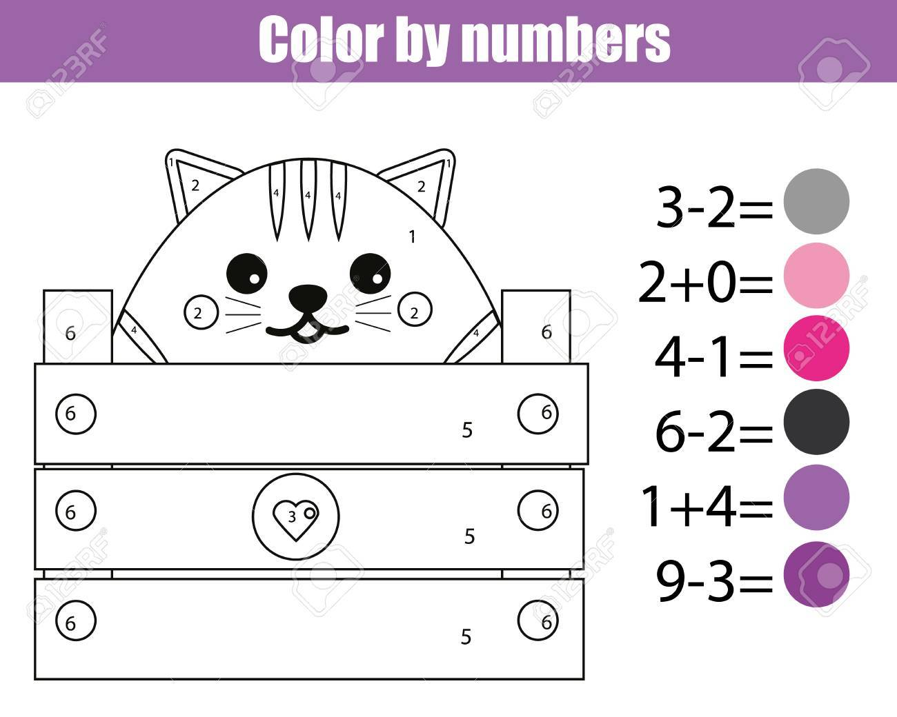 Coloring Page With Cute Cat Character Color By Numbers Educational Children Game Drawing Kids