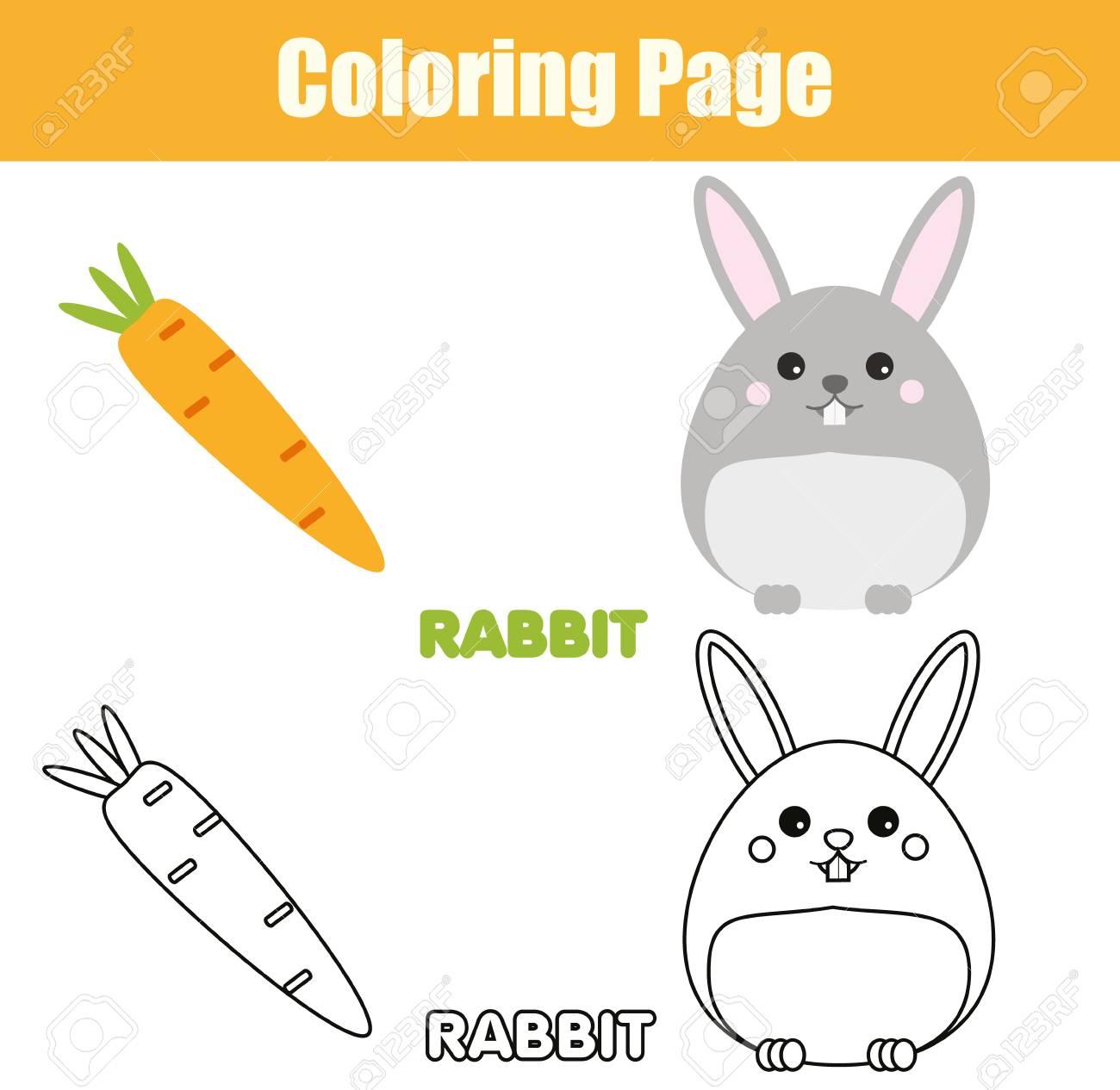 Vettoriale Pagina Da Colorare Con Coniglio Personaggio Da