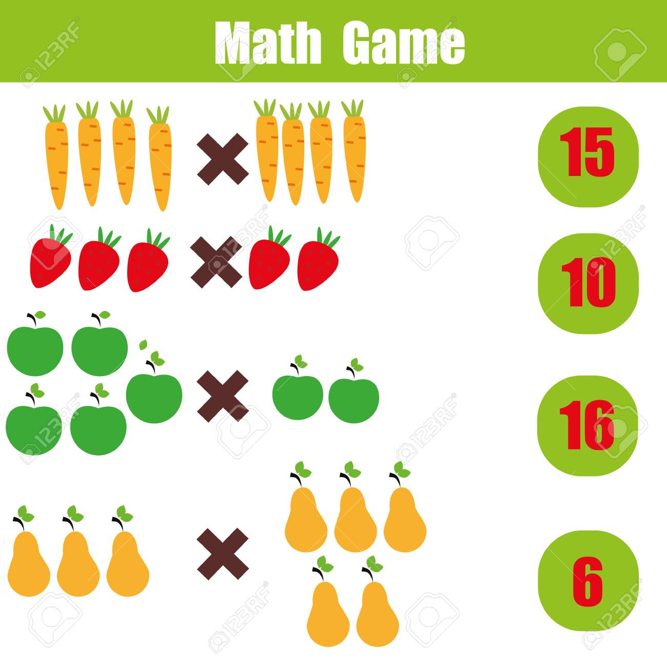 Mathematics Educational Game For Children. Learning Multiplication ...