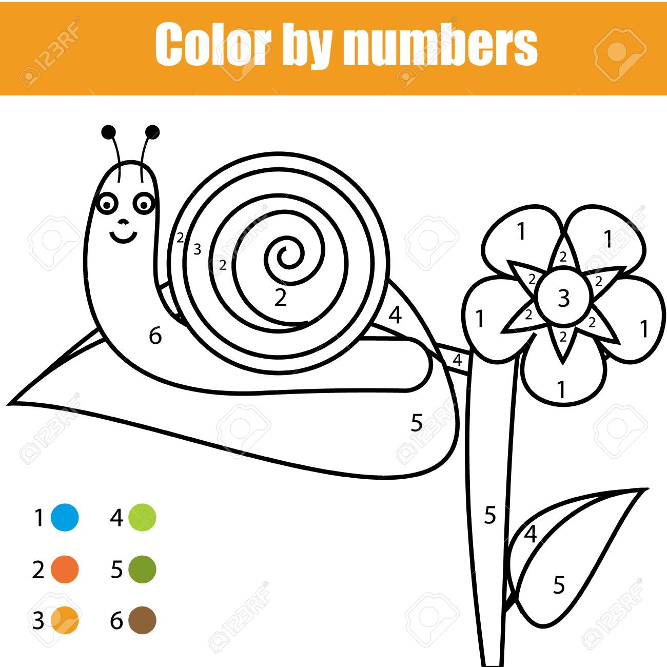 Coloring Page With Snail Character Color By Numbers Educational Children Game Drawing Kids Activity