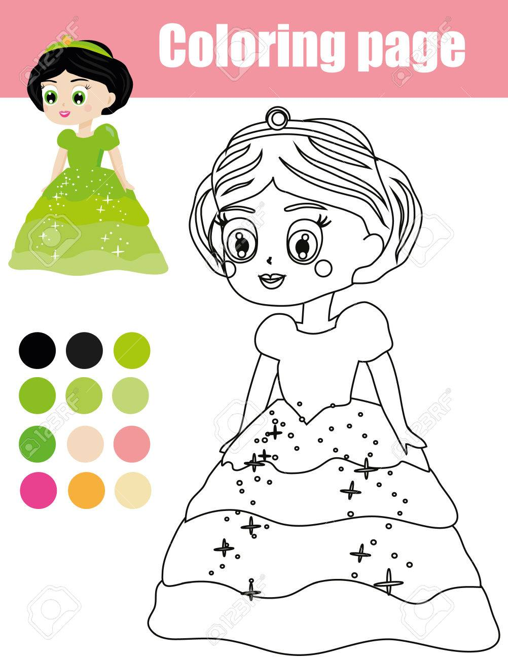 Coloring Page With Beautiful Princess Character Color The Picture Educational Children Game Drawing