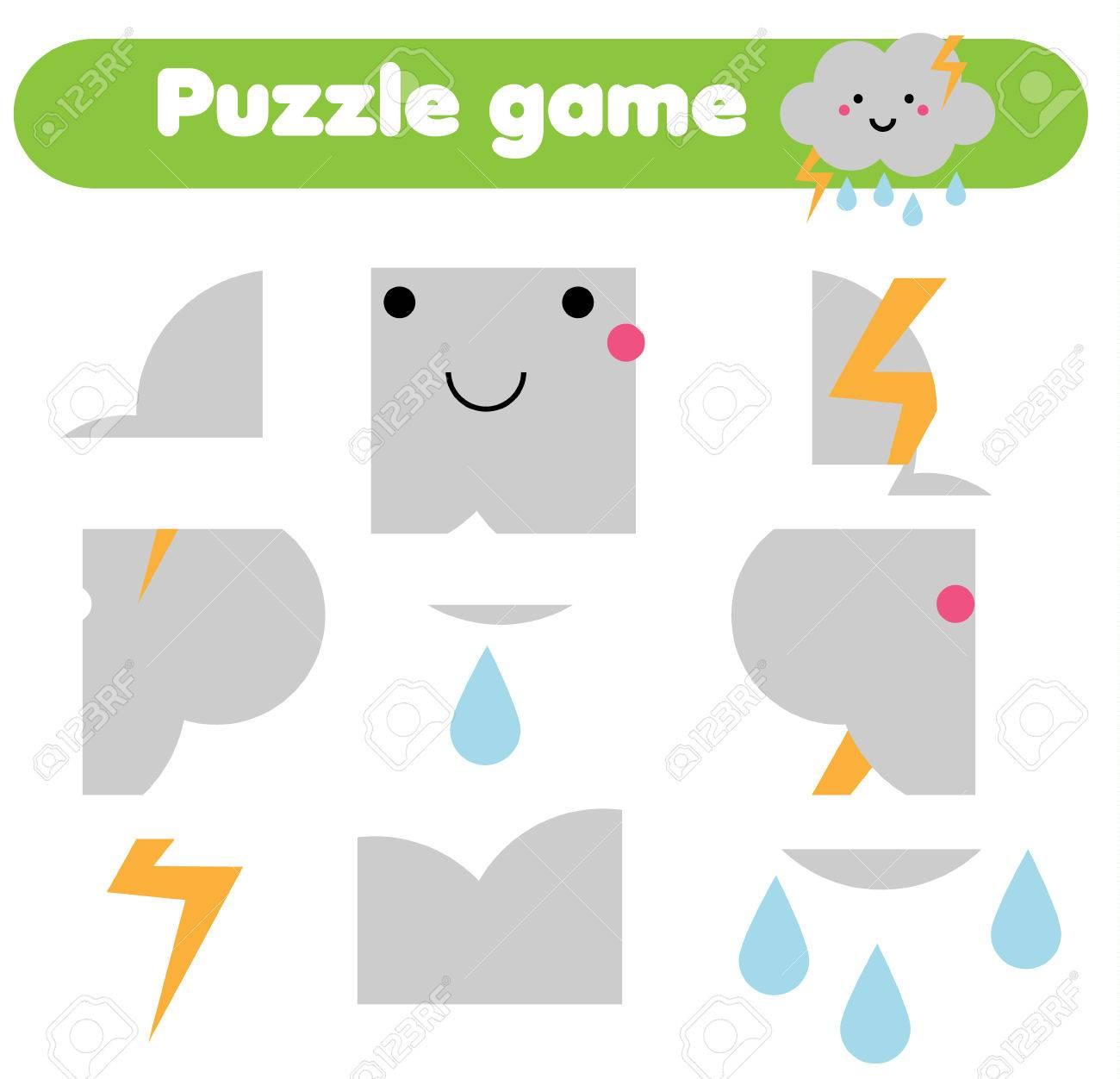 Pädagogisches Kinderspiel. Puzzle Kinder Aktivität. Wetter Thema ...