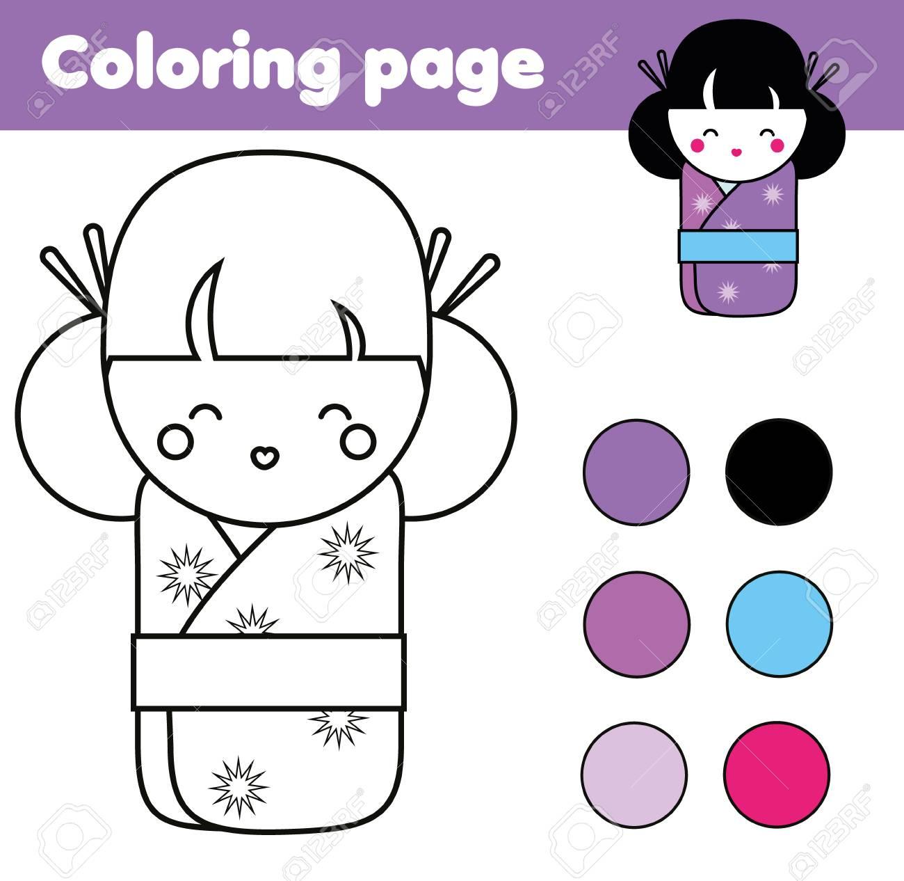 Dibujo Para Colorear Con La Muñeca Japonesa Linda Kokeshi Juegos Educativos Para Niños Actividades De Dibujo Hoja De Trabajo Imprimible