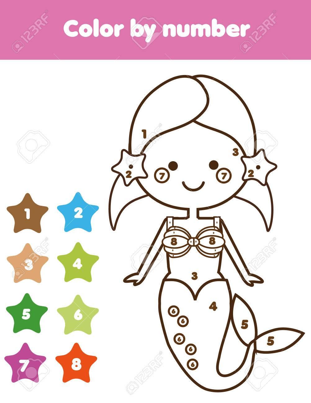 Kinder Pädagogisches Spiel. Malvorlage Mit Meerjungfrau Farbe Nach ...