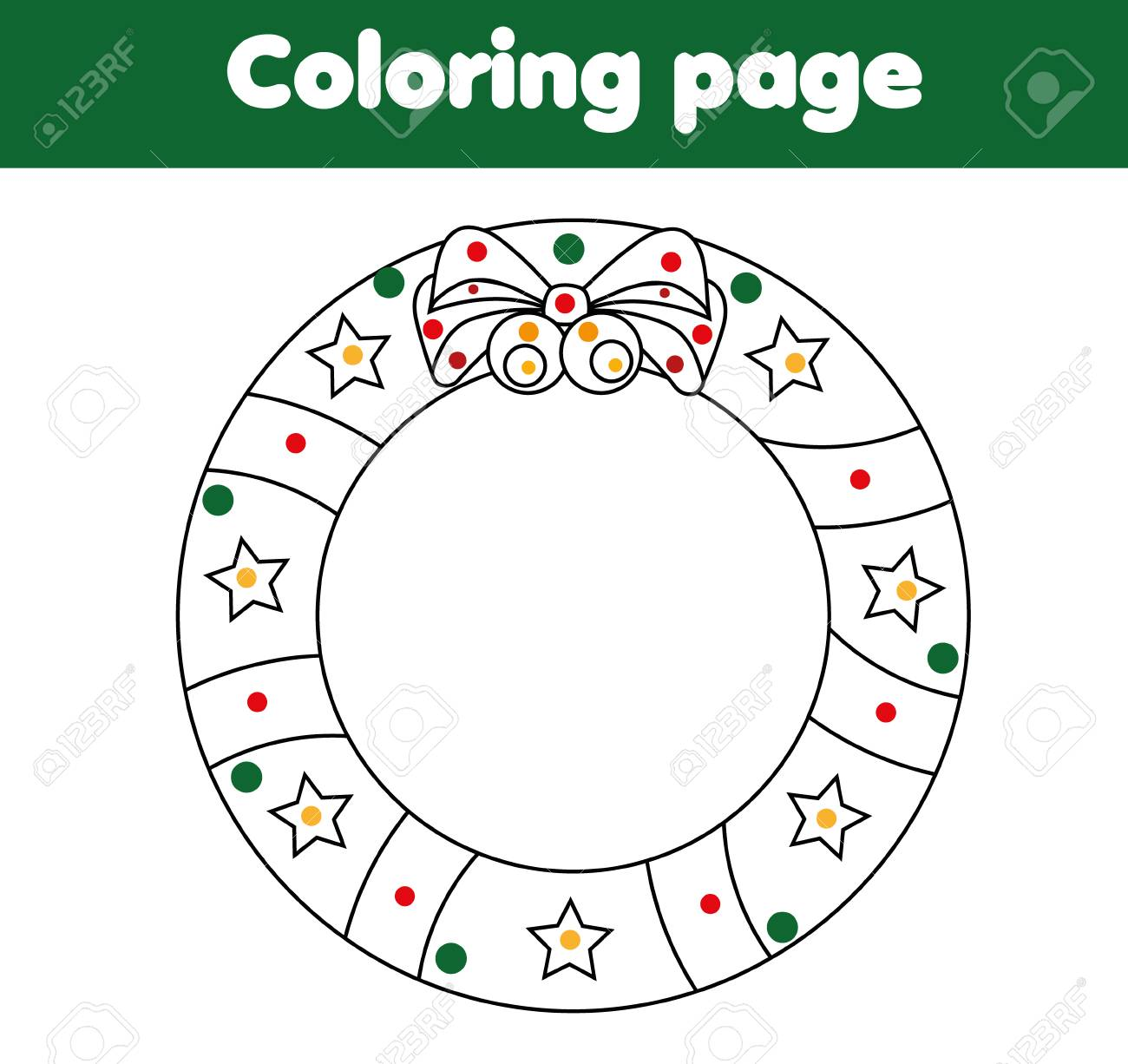 picture relating to Christmas Wreath Printable titled Coloring site for youngsters with Xmas wreath. Drawing recreation,..