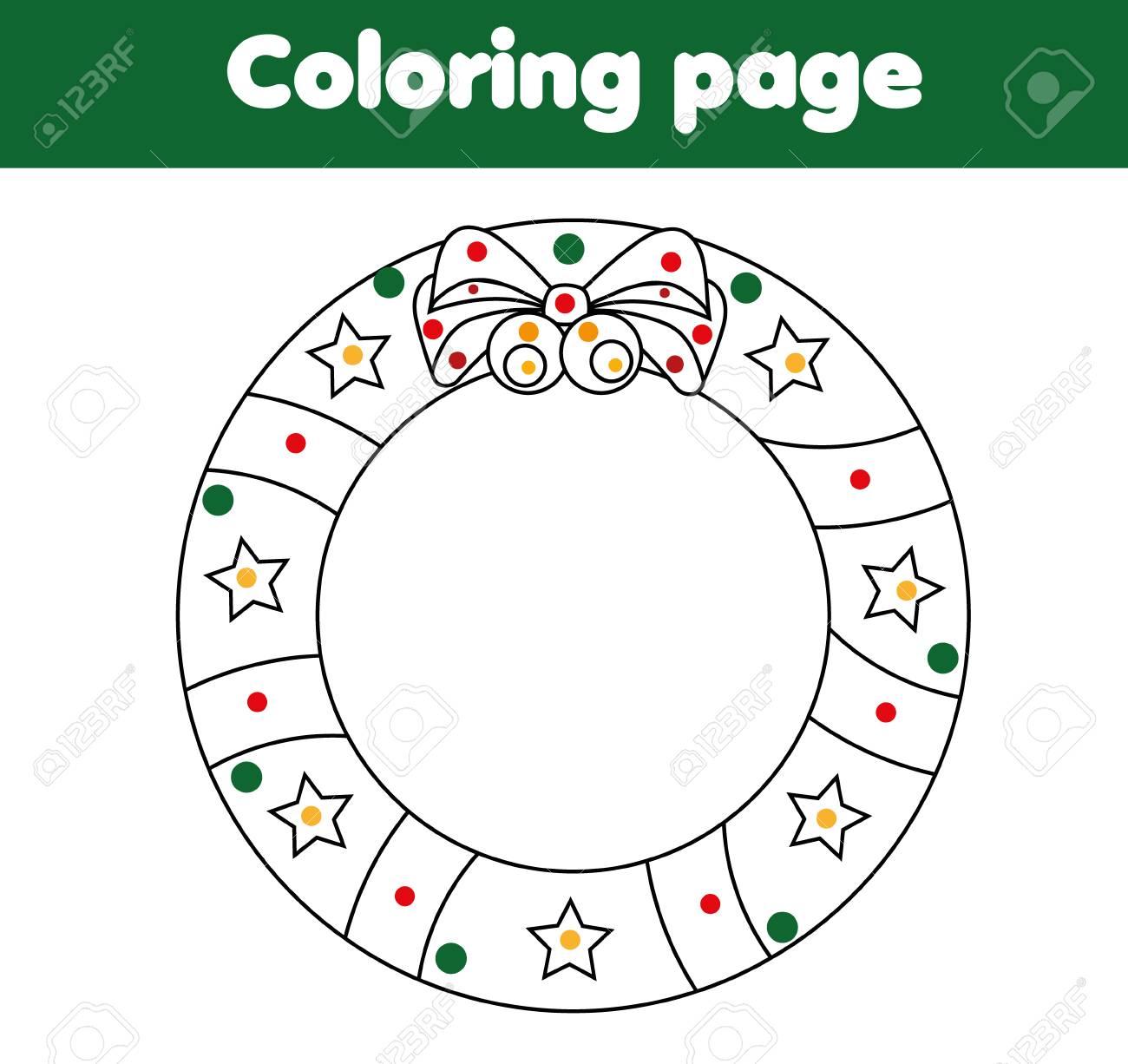 Pagina Da Colorare Per Bambini Con Ghirlanda Di Natale Attività Di Disegno Foglio Di Lavoro Stampabile Per Giochi Per Bambini