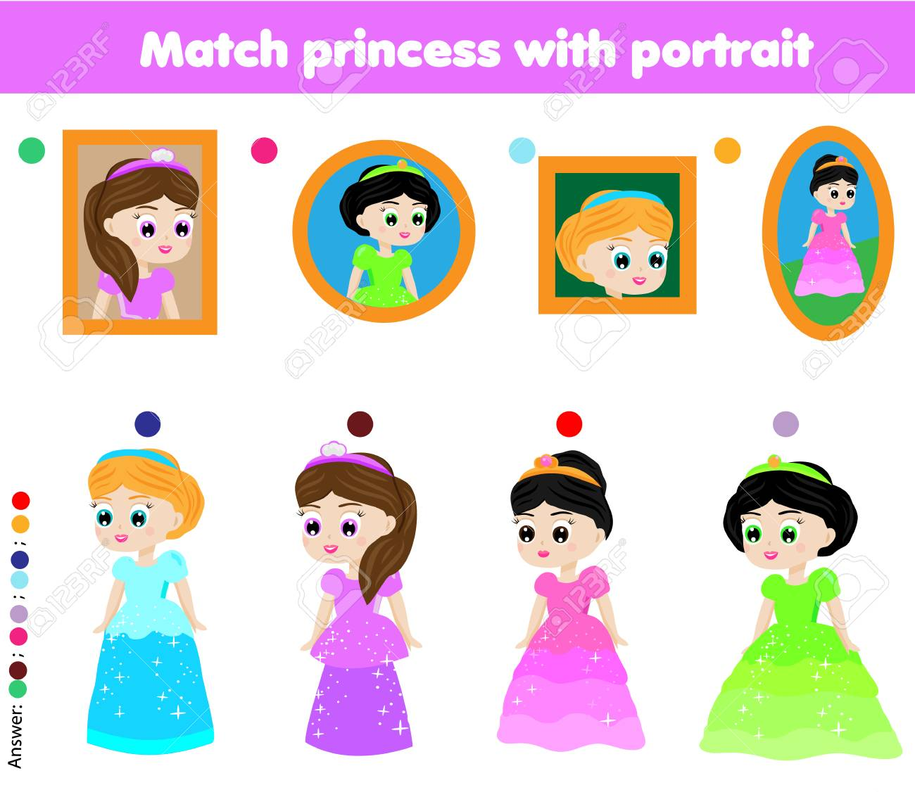 Children educational game. Kids activity. Matching pairs. Find the correct portrait of beautiful princess - 83156692
