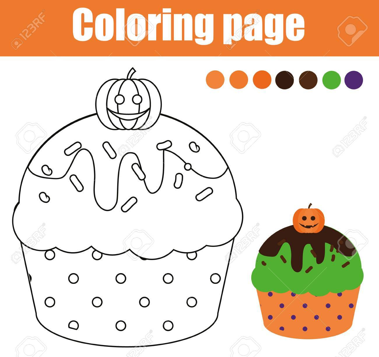coloring page with halloween cupcake drawing kids activity printable sheet
