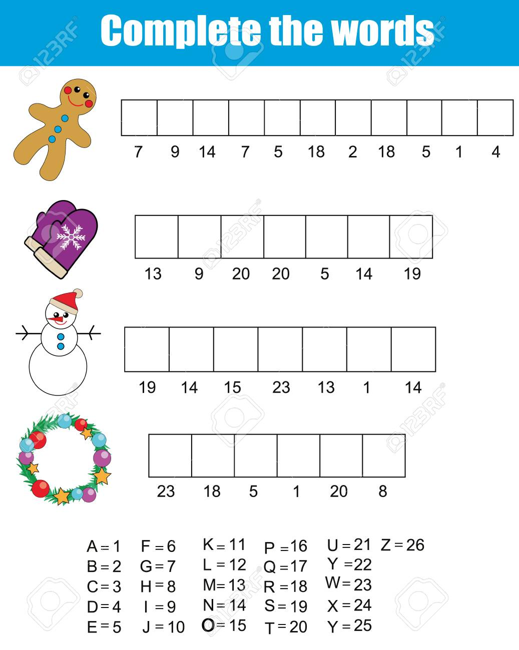 complete the words using cipher code children educational game
